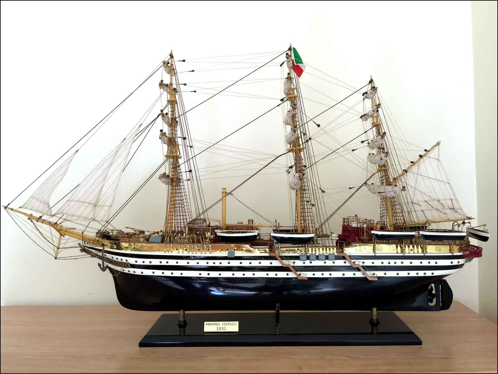Amerigo Vespucci Ship Model (1930 Italy)|Large Size Black